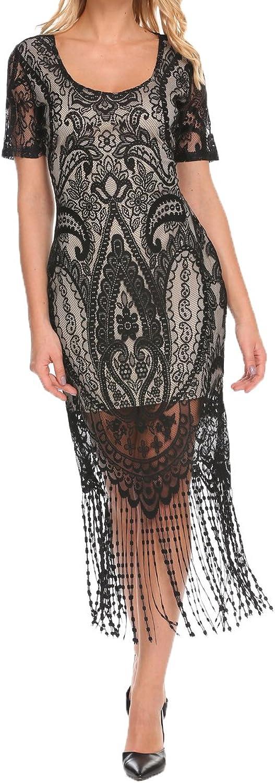 COSYOU Women's 1920s Dress Gastby Sequins Fringed Flapper Dress