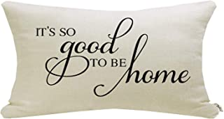 Meekio Farmhouse Pillow Covers with It's so Good to be Home Quote 12 x 20 inch Farmhouse Rustic Décor Lumbar Pillow Covers with Saying Housewarming Gifts
