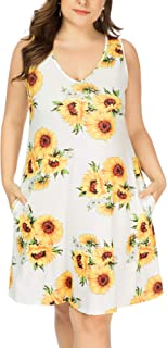Women Plus Size V Neck Sleeveless Floral Print Pocket T...