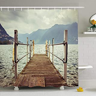 Ahawoso Shower Curtain Set with Hooks 66x72 Boat Dock Lugano Switzerland Nautical Relaxation Travel Transportation Relax Parks Outdoor White Waterproof Polyester Fabric Bath Decor for Bathroom