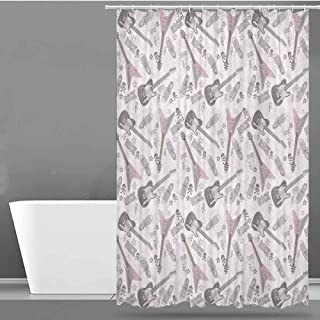 VIVIDX Fabric Shower Curtain,Music Decor,Pattern with Guitars Shoes Skulls Crossbones Stars Punk Rock Music Concert,Metal Build,W36x72L
