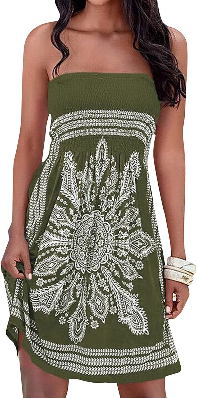 OMZIN Women's Summer Bandeau Dress Floral Off Shoulder Casual Mini Dresses