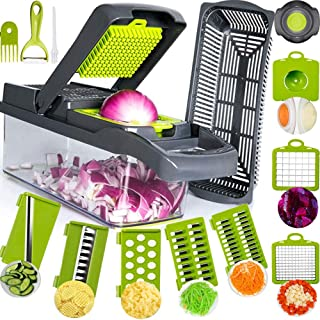 SAIAOBO Mandoline Coupe-Légumes 13 en 1, Trancheur de Légumes, Légumes Râpés, Hachoir de Graterie de Cuisine Multifonction...