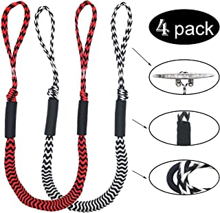 Jranter Pack of 4 Bungee Dock Lines - Marine Rope Stretch Boat Dock Rope for PWC 4-5.5 ft