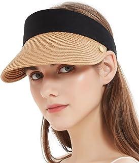Bellivera Sun Hat Women Straw Visor Wide Brim UV Protection Beach Summer Packable Sunhat