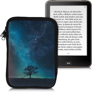kwmobile Neoprene e-Reader Pouch Size eReader - Universal eBook Sleeve Case with Zipper, Wrist Strap - Black Blue 50335.01