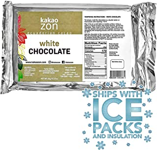 KakaoZon White Chocolate Coverture |Gourmet White Chocolate | Gluten-Free | Non-GMO | Free of all major allergens | Fairly...