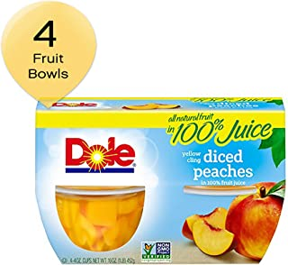 DOLE FRUIT BOWLS, Yellow Cling Diced Peaches in 100% Fruit Juice, 4 Ounce (4 Cups)