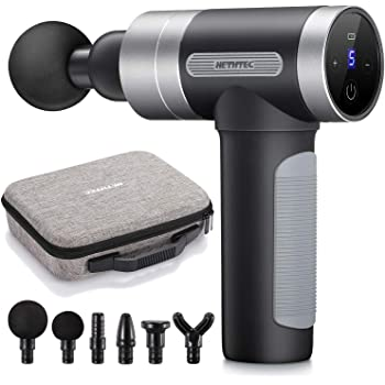 Massage Gun Deep Tissue, Hethtec Handheld Muscle Massager for Pain Relief, 5 Speed High-Intensity Vibration, LCD Touch Screen, Long Battery Life, Includes 6 Massage Heads and Carrying Case