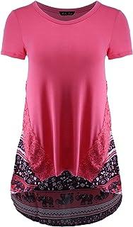 Ladies' Code Women's Short Sleeve Printed Chiffon Back Hi-Lo Top