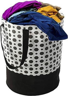 Kuber Industries Polka Dots Printed Waterproof Canvas Laundry Bag, Toy Storage, Laundry Basket Organizer 45 L (Black & White)-CTKTC044991