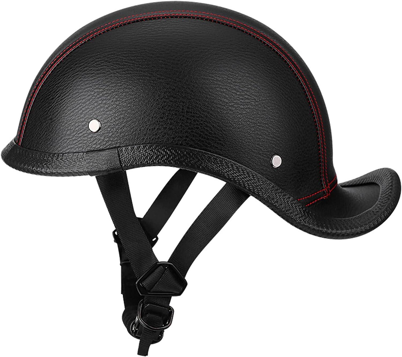 Leather Motorcycle Half Max 47% OFF depot Helmet Retro Motorbike Face Open