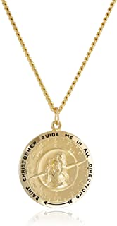Men's 14k Gold-Filled Round Saint Christopher Compass Medal with Stainless Steel Chain, 24