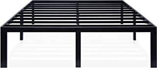 Ecos Living 16 Inch Metal Platform Bed Frame with Steel Slat Support/No Box Spring Need/Easy Assembly/Noise Free, Black, King