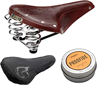 Brooks England B67 Men's Bike Saddle (Brown/Black Steel with Chrome Springs) with Rain Cover and Proofide Bundle