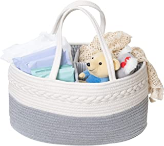 VK Living Baby Diaper Caddy Organizer Stylish Rope Nursery Storage Portable Cotton Rope Diaper Basket for Changing Table &...