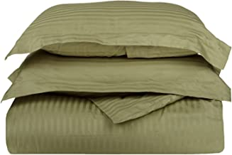 100% قطن فاخر وممشط، ساتان ناعم أحادي الثنية، طقم غطاء لحاف من قطعتين، أحمر داكن، توأم/مفرد XL - أخضر داكن