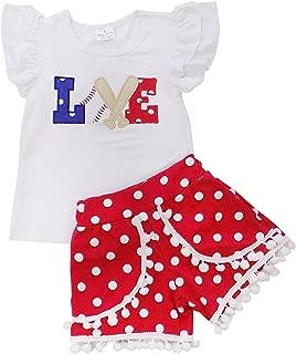 Girls Toddler Baseball Summer Dress, Capri Outfit, Baby Bubble Romper