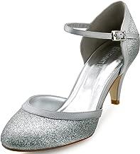ElegantPark HC1510 Zapatos de Tacón Zapato con cierre Glitter Cerrado Women zapatos del partido
