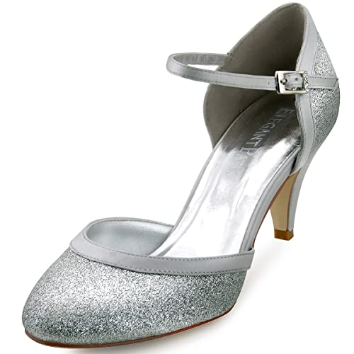 88efc027b6e ElegantPark Women Closed Toe Cone Heels Buckle Ankle Strap Pumps Evening  Prom Wedding Bridal Shoes Silver