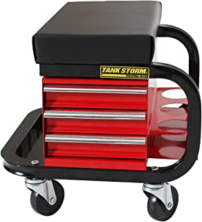 TANKSTORM Tool Box Built-In Creeper Seat, Garage Shop Roller Seat, 3 Drawers Heavy Duty Tool Chest With 4 Rolling Casters-...