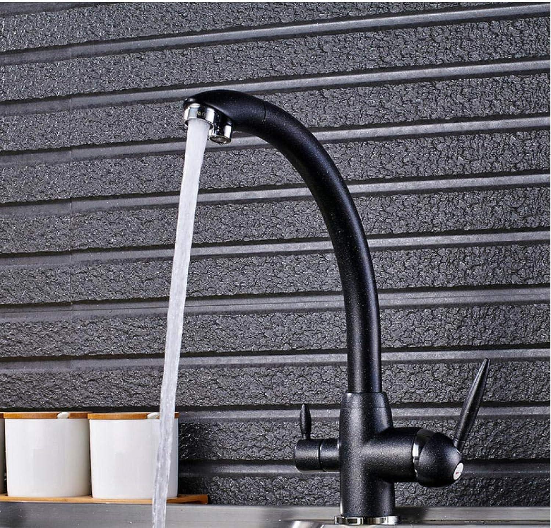 Deck montiert wei 3-Wege-Reinigung Küchenarmatur Dual Water Outlet Filter Mischbatterie für Küche Doppelgriff