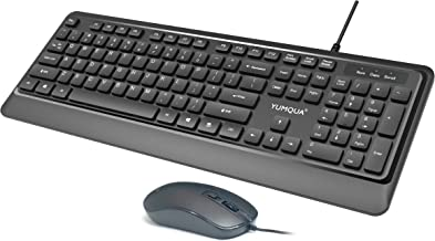 Wired Keyboard and Mouse Combo, YUMQUA Ultra Thin USB Corded Computer Keyboard and Silent Mouse Set for Computer, Laptop, ...
