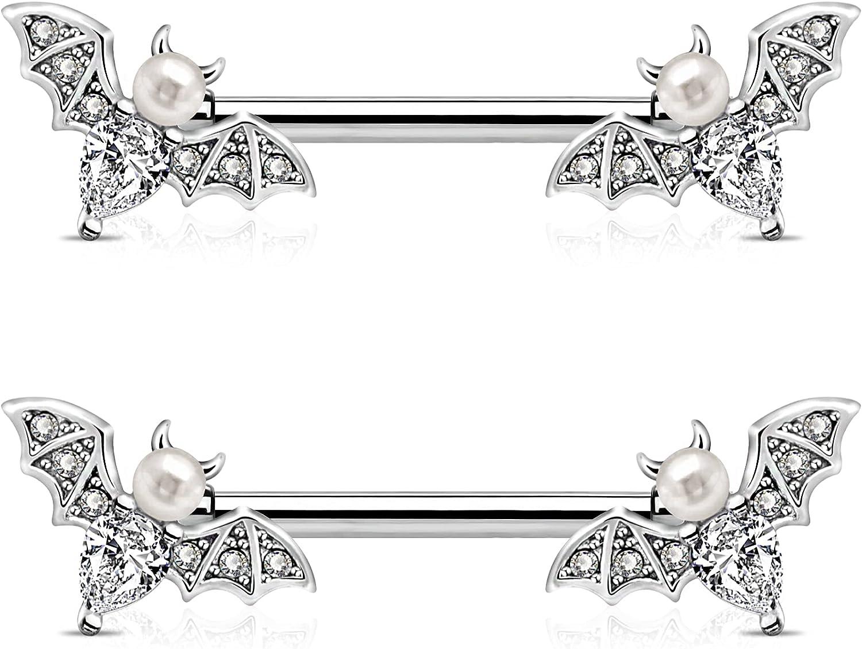 JEWSEEN Nipple Barbell 14g Nipple Piercing Bat Nipple Jewelry Sparkling CZ Nipple Ring Bar Halloween Body Piercing Jewelry