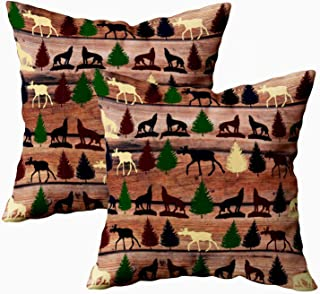 EMMTEEY Home Throw Pillowcase for Sofa Cushion Cover Wild Moose Wolf Wilderness Mountain Cabin Rustic Lumbar Decorative Square Double Sided Printing 18X18Inch,Set of 2