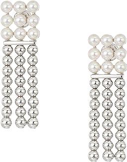 4mm Round Pearls on Steel Beaded Long Earrings