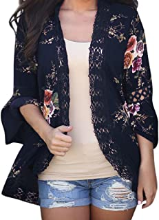Women Lace Floral Open Cape Casual Coat Loose Blouse Jacket Drape Cardigan Kimonoc