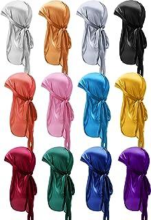 12 قطعة حريري دوراغ قبعات لينة ذيل طويل الحجاب أشرطة واسعة أغطية الرأس للنساء الرجال المفضلة، 12 لونًا