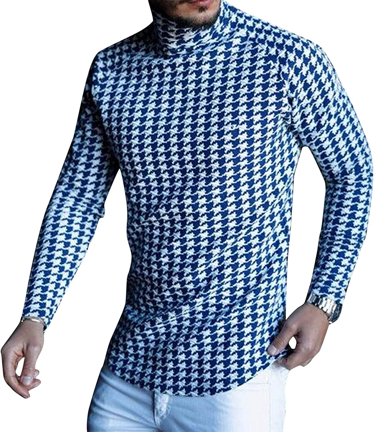 Men Casual Slim Fit Turtleneck Flannel Shirts Long Sleeve Plaid Soft Lightweight Sweaters Thermal Baselayers