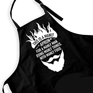 Ihopes Funny Aprons for Men - Black Kitchen Chef Apron with 2 Pockets and Adjustable Neck Strap - This is a Manly Apron - ...