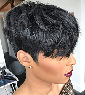 Yviann 100% Human Hair Short Wigs Pixie Cut Wigs with Bangs Short Black Layered Wavy Wigs for Women