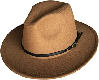 Bestjybt Womens Classic Wide Brim Floppy Panama Hat Belt Buckle Fedora Hat