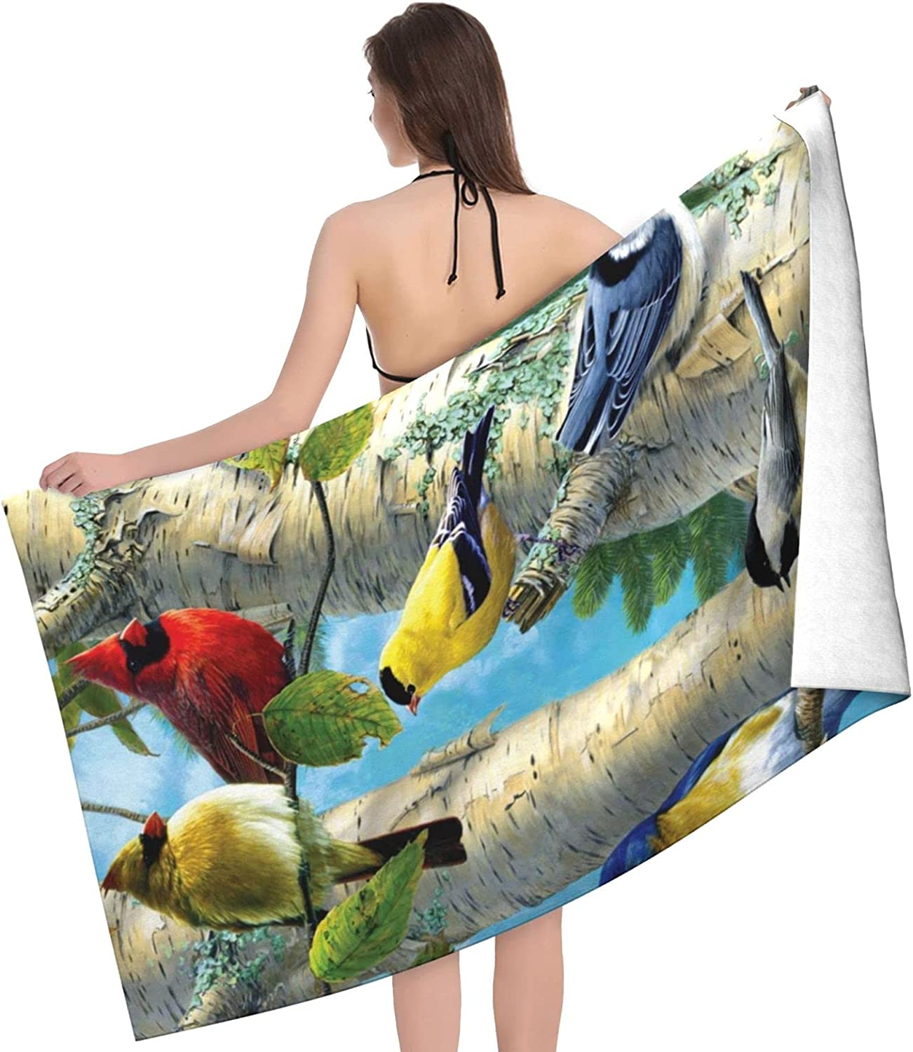 Birds in Birch Tree Superior Print Adult Doubl Towel Max 64% OFF - Towels Beach