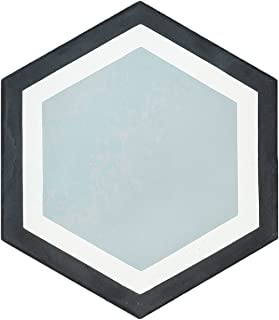 Rustico Tile and Stone RTS25 Black/White/Gray Hexagon Cement Tile (13 Pack), 8