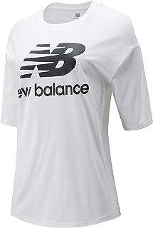 New Balance Women Nb Essentials Stacked Logo Tee Top Lifestyle White/Black