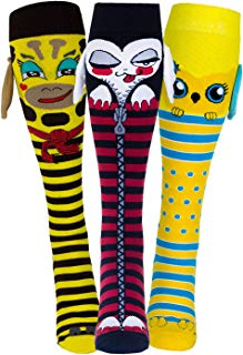 3 PACK Funny Wacky Animal 3D Socks for Girls | Unicorn, Owl, Cat, Dog | Age 9+