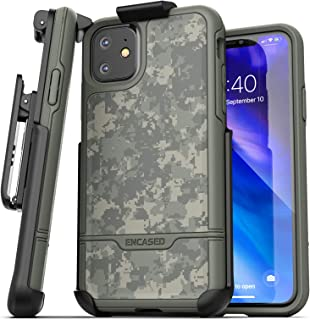 Encased iPhone 11 Belt Clip Holster Case (2019 Rebel Armor) Heavy Duty Protective Full Body Rugged Cover with Holder (Camo Green)