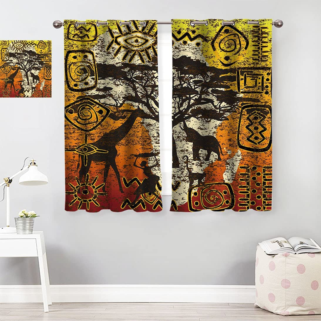 Amazing Las Vegas Mall African Decor Farm House Symbols wi Set Cheap mail order specialty store Curtain