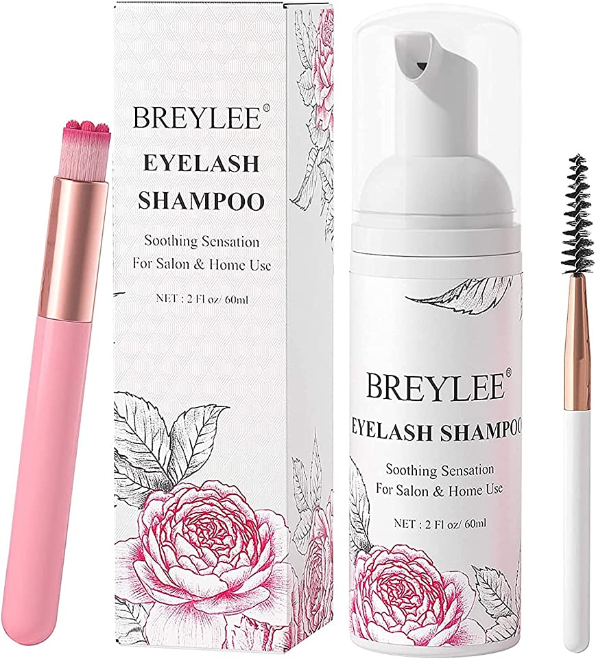 Eyelash Extension Shampoo 60ml + Brush + Mascara Wand Eyelid Foaming Cleansing,Lash Shampoo Cleaner,Nourishing Formula,Paraben & Sulfate Free,Makeup Remover,Salon and Home use