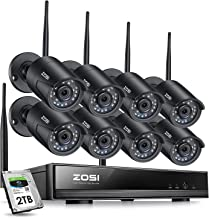 ZOSI 1080P Wireless Security Cameras System Outdoor Indoor with Night Vision, H.265+ 8CH Network Video Recorder (NVR) with 8 x 2MP Auto Match Weatherproof IP Cameras, 2TB Hard Drive Built-in