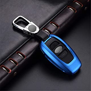 MissBlue New Car Key Fob Cover For Subaru Outback Forester XV Legacy Levorg Smart Remote Key, Aircraft Aluminum Car Key Case Cover Protector With Keychain - Blue
