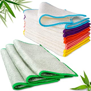 Masthome Bamboo Dish Cloth & Kitchen Wipe Dishcloths 13-Pack Bamboo Fiber Cleaning Cloths Super Absorbent Rags& Eco-Friend...
