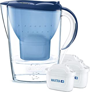 BRITAMarellaazul Pack Ahorro – Jarra de Agua Filtrada con3 cartuchos MAXTRA+, Filtro de agua BRITA que reduce la cal y ...