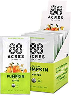 88 Acres, Organic Pumpkin Seed Butter, Single-Serve Squeezable Pouch, Nut-Free, Non-GMO, Dairy-Free, 20 Pouches (1.16 Oz)