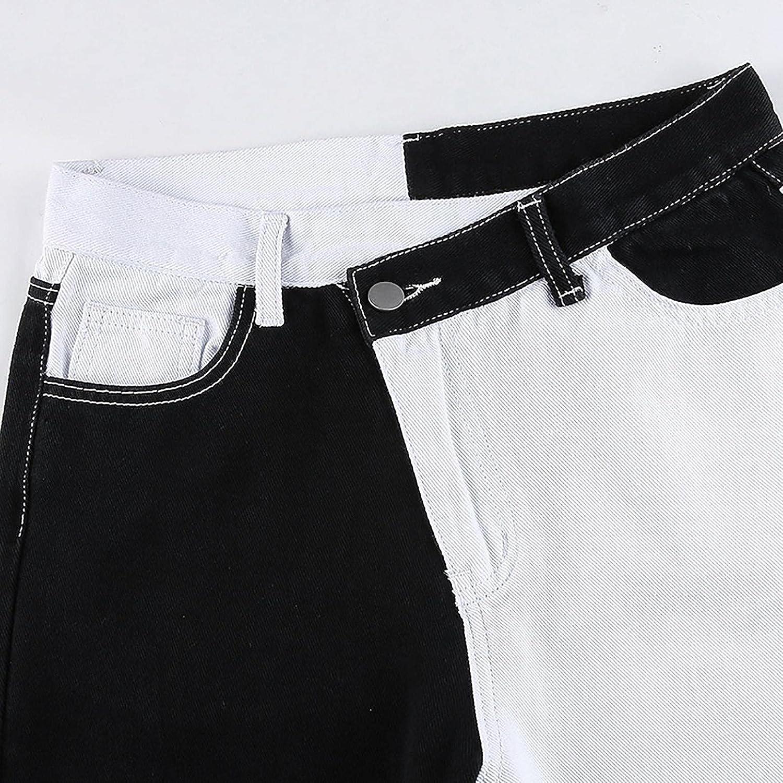 Fudule Y2K Pants for Women High-Waist Straight Jeans Trendy Patchwork Pants Wide Leg Trousers Slim Fit Denim Streetwear