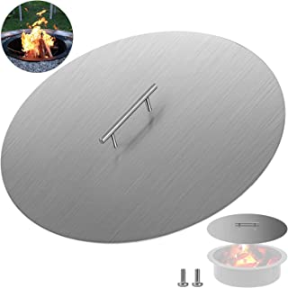 VEVOR Fire Pit Lid 20 Inch Round 1.5mm Stainless Steel, Silver Lid Round 20 Inch 1.5mm Thick 304 Stainless Steel Pan Cover